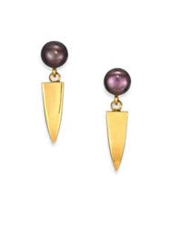 Lizzie Fortunato Dagger 6Mm 6.5Mm Peacock Round Pearl Drop Earrings Gold Purple