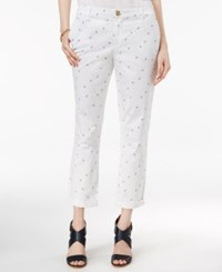 Tommy Hilfiger Hampton Printed Cuffed Ankle Pants Snow White