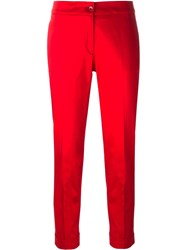 Etro Cropped Cigarette Trousers Red