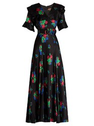 Duro Olowu Floral Print Short Sleeved Silk Satin Dress Black Multi