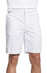 Lacoste 'Sport Gold' Plaid Bermuda Shorts White Navy