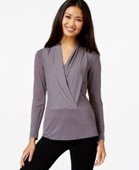 Eci Long Sleeve Draped Top Excalibur Grey