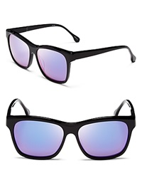 Elizabeth And James Park Mirrored Wayfarer Sunglasses Shiny Black Purple Mirror