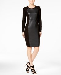 Calvin Klein Faux Leather Panel Sweater Dress Black