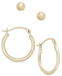 Macy's 2 Pc. Set Ball Studs And Hoop Earrings In 10K Gold Yellow Gold