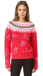Nina Ricci Fair Isle Crew Neck Sweater Bright Red