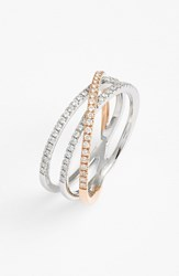 Bony Levy Women's Crossover Three Row Diamond Ring Nordstrom Exclusive White Gold Rose Gold