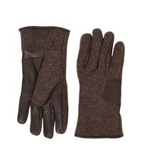 Ugg Fabric Smart Gloves W Leather Trim Grizzly Extreme Cold Weather Gloves Brown