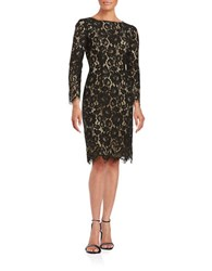 Erin Fetherston Garland Lace Overlay Sheath Dress Black Nude