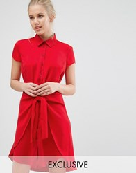 Closet London Tie Front Dress With Cap Sleeve Red
