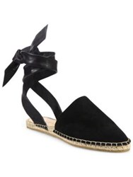 Loeffler Randall Heloise Suede And Leather Ankle Wrap Espadrille Sandals Black