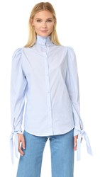 Pushbutton Tie Cuff Blouse Blue