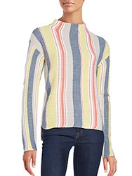 Saks Fifth Avenue Striped Long Sleeve Hi Lo Sweater Multi