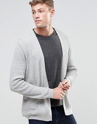 Asos Longline Open Cardigan In Cable With Rib Detail Grey