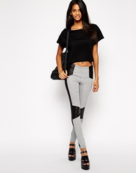 Asos Textured Leggings With Leather Look Panels Grey