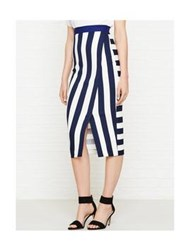 Karen Millen Striped Wrap Pencil Skirt White Navy Blue Navy White