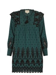 Sea Broderie Anglaise Cotton Dress Dark Green