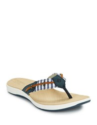 Sperry Seabrook Leather Thong Sandals Navy Blue