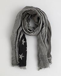 John Varvatos Collection Antique Flag Print Scarf Black