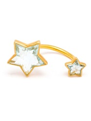 Marie Helene De Taillac 18Kt Gold Double Star Aquamarine Ring