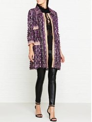 Anna Sui Sequin Fringe Mesh Coat Purple