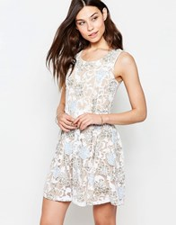 Yumi Skater Dress In Burnout Floral Print Ivory Cream