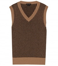 Marc Jacobs Printed Wool And Cashmere Blend Sweater Vest Beige