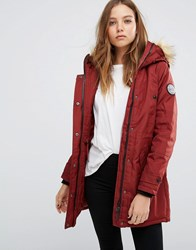 Vero Moda Parka With Faux Fur Collar Fired Red