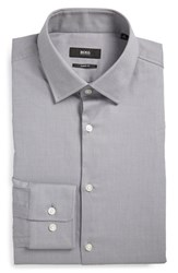 Boss Men's Big And Tall Sharp Fit Solid Dress Shirt Grey