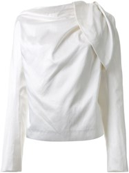 Haider Ackermann Draped Long Sleeve Blouse White