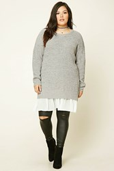 Forever 21 Plus Size Purl Knit Tunic Heather Grey Ivory