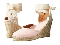 Soludos Tall Wedge Blossom Pink Cotton Canvas Women's Wedge Shoes