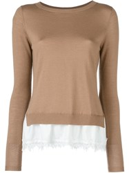 P.A.R.O.S.H. Lace Bottom 'Lizzy' Sweater Brown