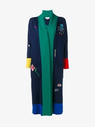 Mira Mikati Merino Wool Embroidered Off Duty Cardigan Navy Multi Coloured Green Yellow Blue