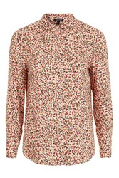 Topshop Long Sleeve Ditsy Shirt Pink