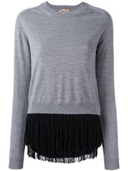 N 21 No21 Fringed Jumper Grey
