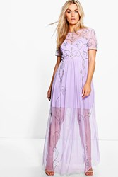 Boohoo Elin Boutique Embellished Maxi Dress Lilac