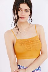 Out From Under Mesh Ruffle Longline Bra Mustard