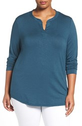 Sejour Plus Size Women's Split Neck Long Sleeve Tee Blue Wing