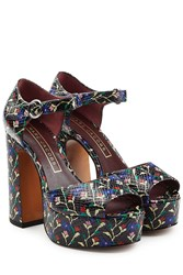Marc Jacobs Printed Leather Platform Sandals Multicolor