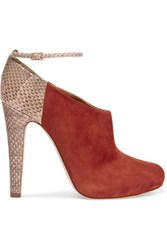 Malone Souliers Shari Suede And Snake Pumps Brown