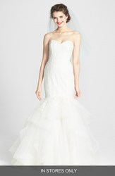 Amsale Women's 'Carson' French Lace And Tulle Mermaid Wedding Dress Ivory