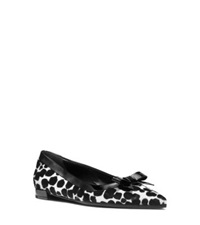 Michael Kors Emmy Runway Calf Hair And Leather Flat Black White Cheetah