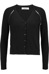 Milly Bugle Bead Embellished Stretch Cotton Blend Cardigan Black