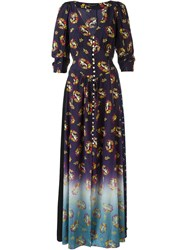 Marc Jacobs Victorian Print Maxi Dress Pink And Purple