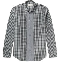 Maison Martin Margiela Slim Fit Button Down Collar Gingham Cotton Shirt Black
