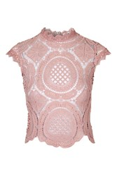 Glamorous Crochet High Neck Crop Top By Pink