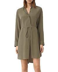 Allsaints Alex Silk Shirt Dress Light Khaki