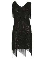 Izabel London Fringe Flapper Dress Black
