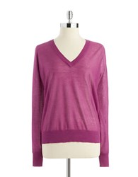 Adrianna Papell Long Sleeved V Neck Sweater Red